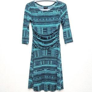 En Focus Blue & Turquoise 3/4 Sleeve Dress